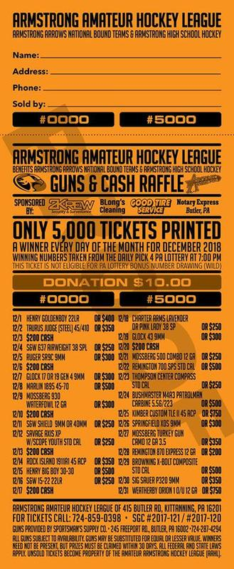 armstrong arrows guns cash raffle ticket for sale 10