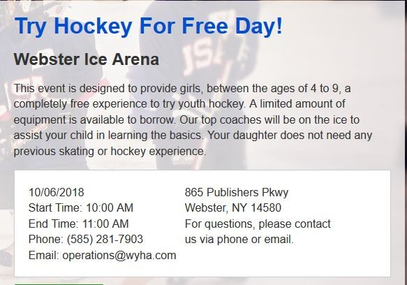 Girls Try Hockey for Free 10/6