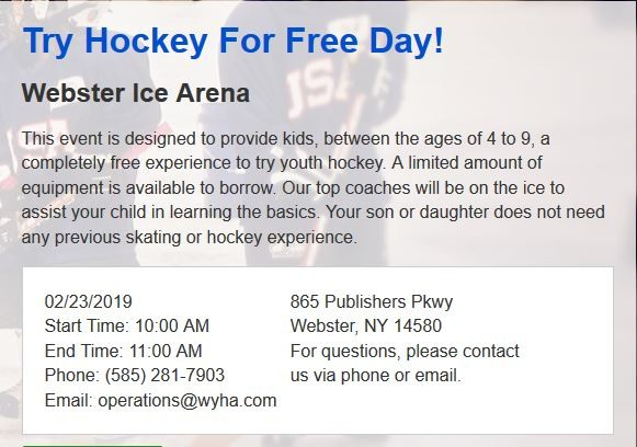 Try Hockey for Free 2/23/2019