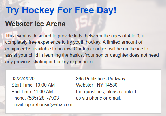 Try Hockey for Free 2/22