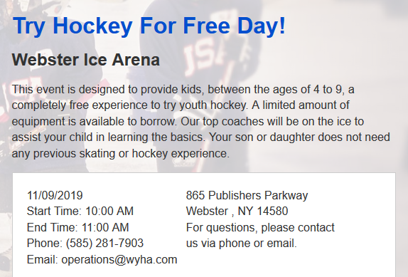 Try Hockey for Free 11/9